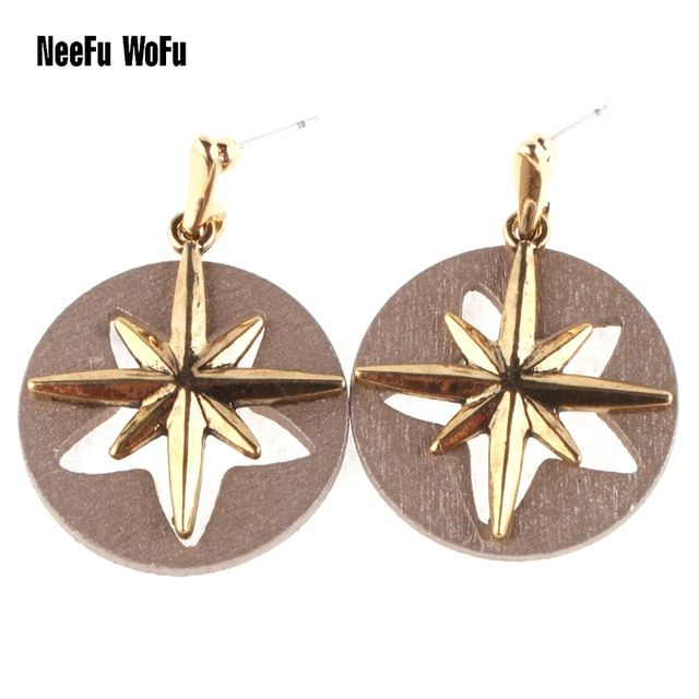 Bohemia Star Big  Drop Earrings Pendientes de Madera Wooded Brincos de Cristal Gota forma Brincos Orecchini in Argento Boucles