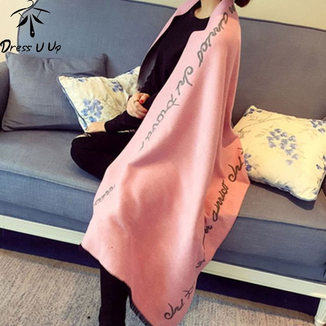 Luxury Brand Scarf Women Wool Cashmere Duble Layer Scarf Soft Women's Scarf Letter Warm Blanket Scarf Shawl Echarpes