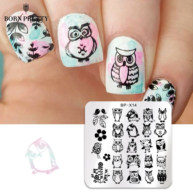 BORN PRETTY Animal Series Nail Art Stamp Stamping Plates Template Owl Design Flower Image Plate Stencil