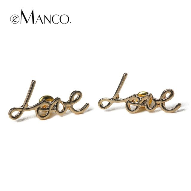 2016 Brincos Earrings For Women emanco Create Love Letters stud Earrings Female Hipster Ornaments Free Shipping