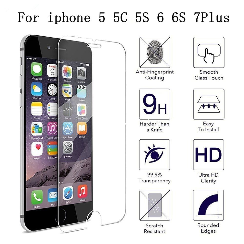 "Ultra Thin Tempered Glass for iPhone4 4S 5 5C 5S 6 6S 7 Scratch Proof 2.5d HD iphone 6 6s 7 plus 5.5"" Screen Protector Film"