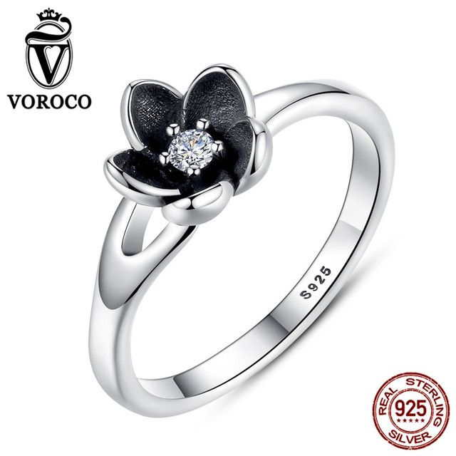 VOROCO 2017 HOT SELL Mystic Floral Flower Stackable Oxidized Silver Black Ring 925 Sterling Silver Jewelry P7154