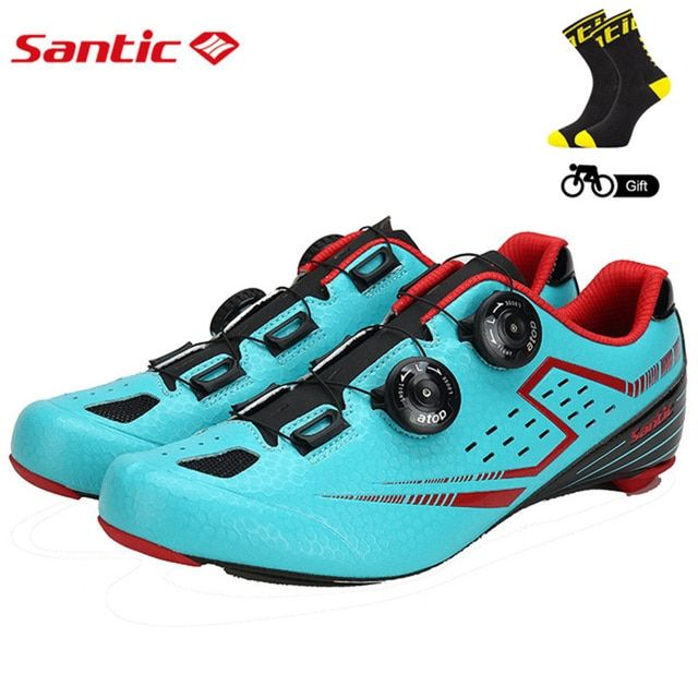 Santic Men's Cycling Road Shoes with Carbon Fiber Sole Light Bike Bicycle Riding Shoes for Men Breathable Annular Alignment
