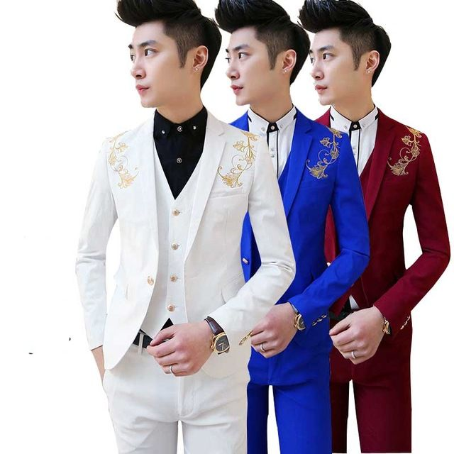 new Korean Mens casual suit Slim fit boys prom suits 3-piece royal blue mens suit wedding red tuxedo jacket