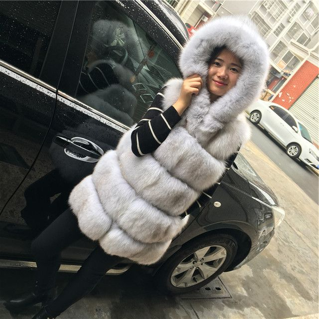 100% Real Fox Fur Gilet Of Coats With Hooded Jackets For Women Vest Natural Winter Genuine Flufly Rich Leather Waistoats 103128