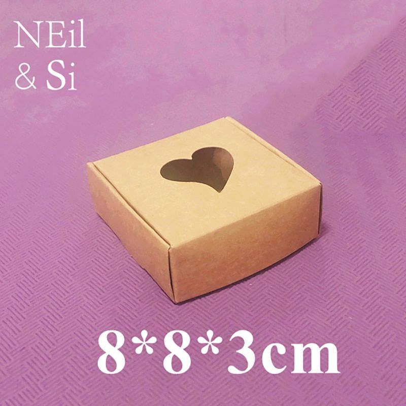 Heart Window Brown Black Paper Box for Wedding Gift Handmade Soap Cookies Packaging Kraft Boxes 8x8x3cm Free Shipping