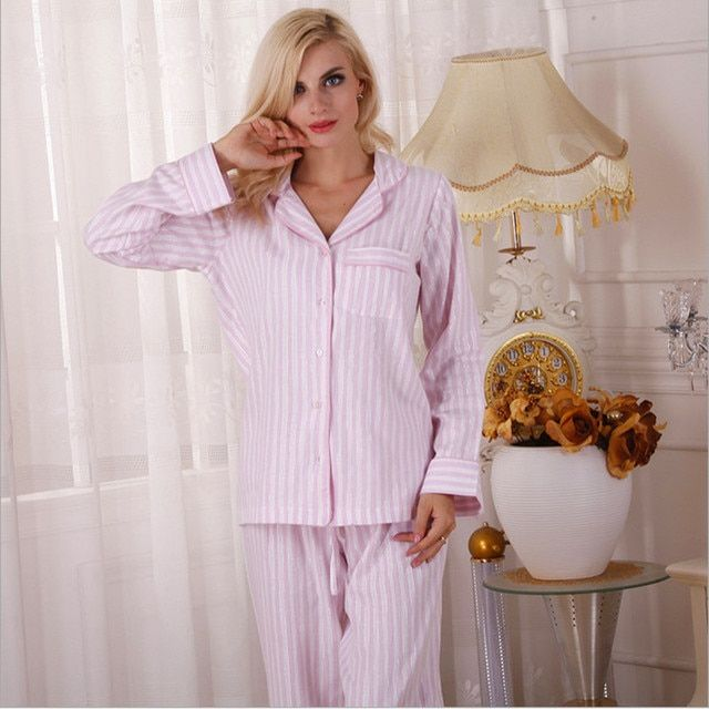 2016 autumn women cotton pajama sets pink and white color stripped European and American style brief top quality pyjamas