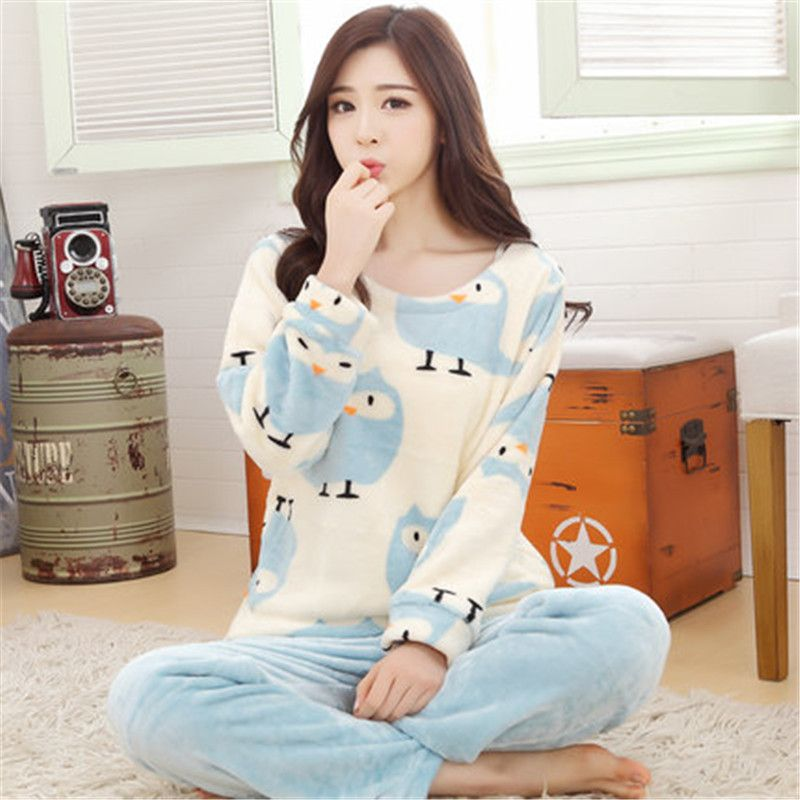 Winter Warm Flannel Pajama Sets Women Cute Sleepsuit Long Sleeve Turn-down Collar Home Pyjamas Casual Plus Size Sleepwear Robe