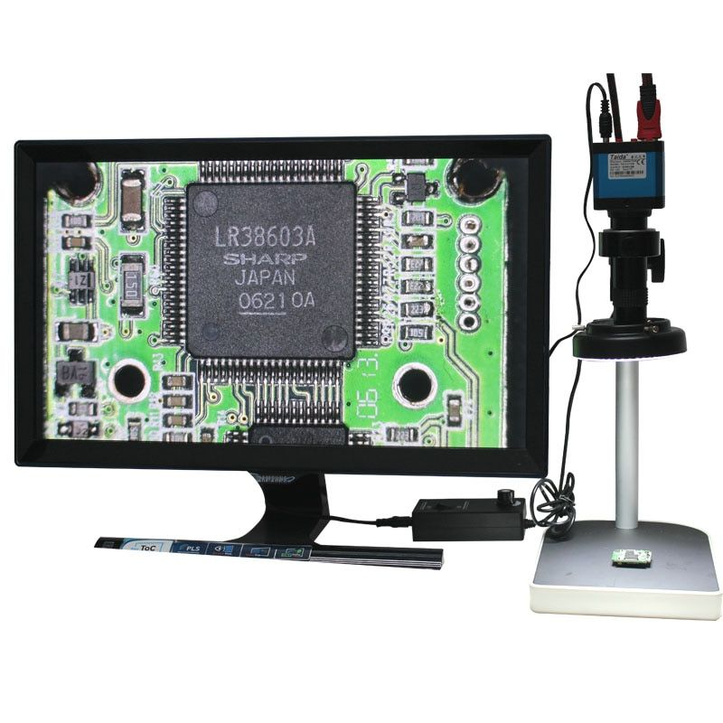 14MP  HDMI Microscope Camera For Industry Lab PCB USB Output TF Card Video Recorder+Optical 100X C-mount Lens+LED Lights+Holder