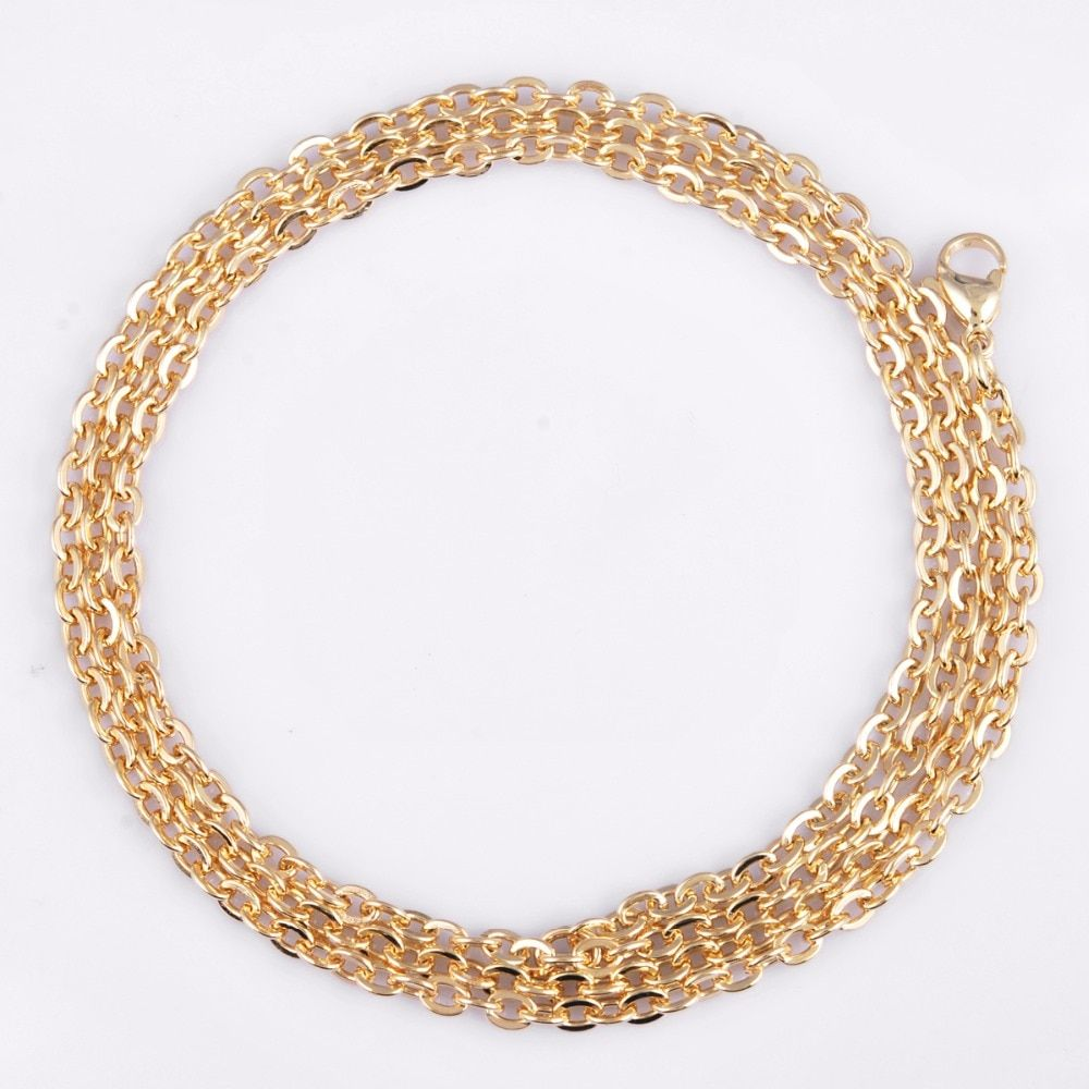 NL29 EUDORA Copper plated gold Long Chain 30/45inch Gold Color Chain Necklace for Women Man 's Pendants