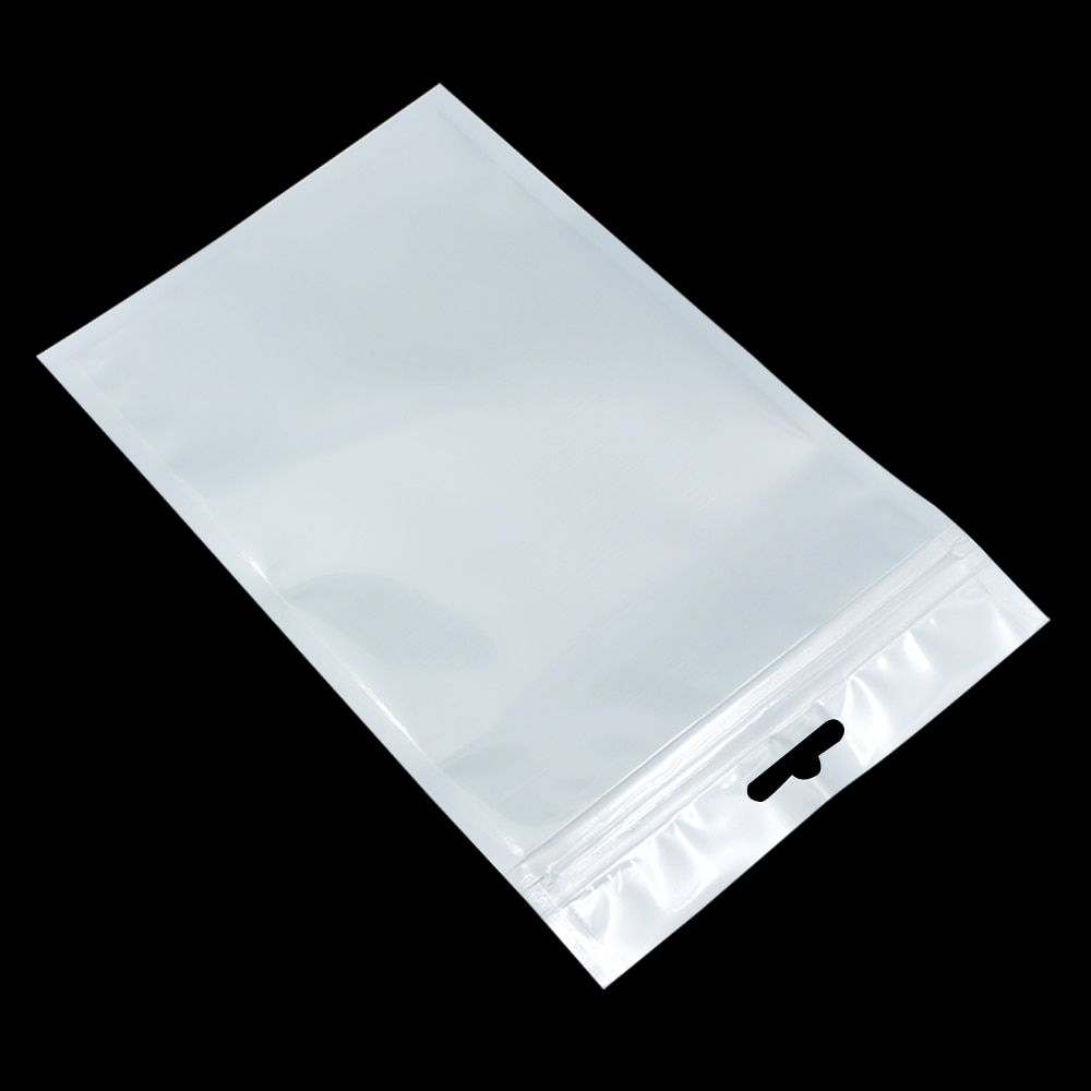 Wholesale 12cm*20cm White / Clear Self Seal Zipper Plastic Retail Packaging Bag Storage Zipper Bag Retail Package With Hang Hole