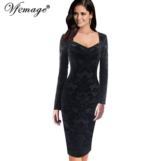 Vfemage Womens Elegant Sexy Brocaded Velvet Slim Pinup Casual Party Special Occasion Pencil Sheath bodycon Dress 4706