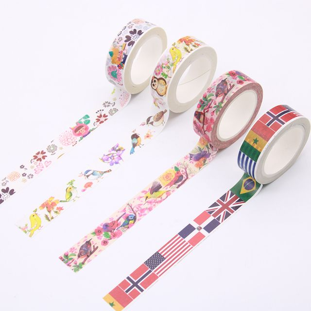 1pc Size 15mm*10m DIY Vintage floral Cat  paper washi tapes/decorative Adhesive Tape/masking tape/ Stickers/School Supplies