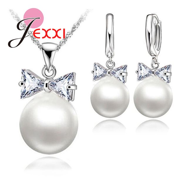 JEXXI 925 Sterling Silver Pearl Hoop Earrings Necklace Bowknot Crystals Jewelry Set For Women Girls Wedding Party Nice Gifts S