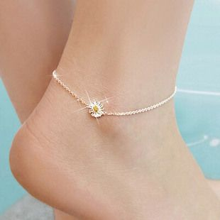 Fashion 925 Silver Gold Daisy Flower Anklets for Women Hot sale Sterling Silver Jewelry Girls Gift Joyas De Plata 925