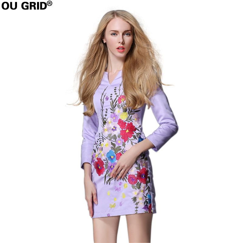 Women Autumn Flower Embroidery Formal Party Dress 2018 Long Sleeve V-neck Elegant Slim Purple Short Dresses Plus Size
