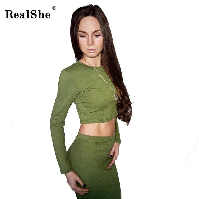 RealShe Women's O Neck Crop Tops And Skirt Set Women Sexy Long Sleeve Tracksuit  Plus Size Tracksuits Women's Sweater Dress