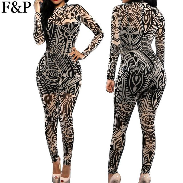 Plus Size XXL XXXL Tattoo Vintage Pattern Print Womens Jumpsuit Sexy Bodycon Elegant Overalls Playsuit Skinny Bodysuit Catsuit