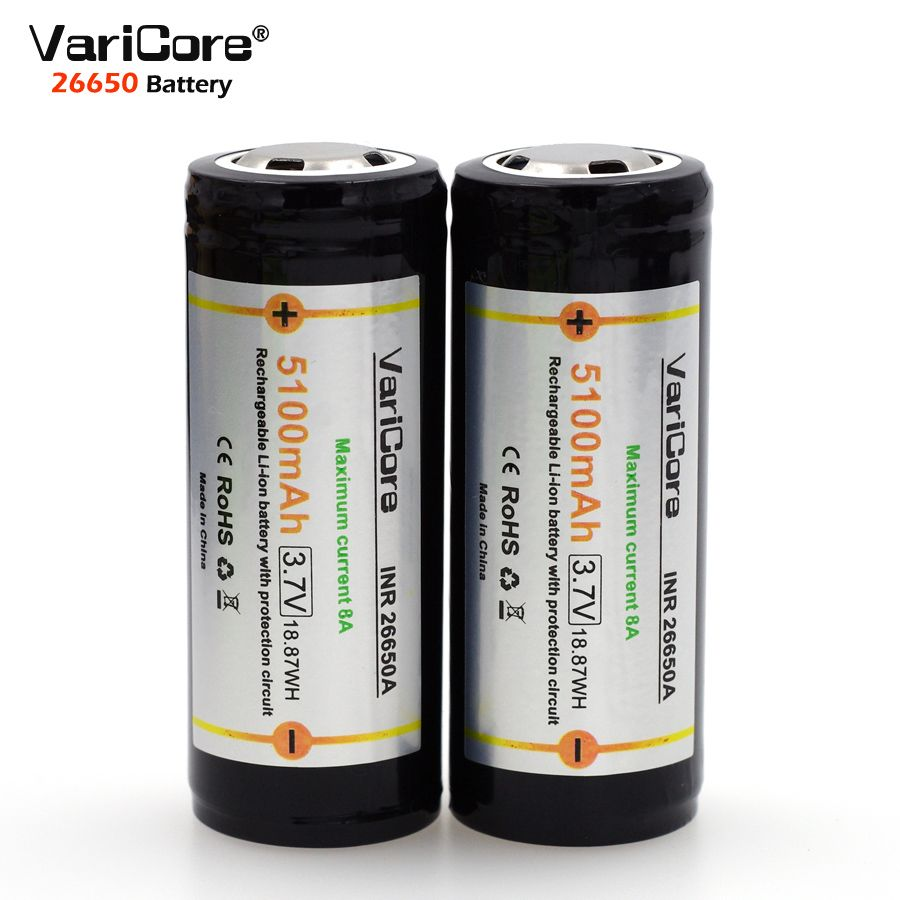 4 PCS. VariCore Protection 26650 5100 mAh 3.7 V Lithium Ion Rechargeable Battery with PCB 8A 3.6 V Power Battery for Flashlight