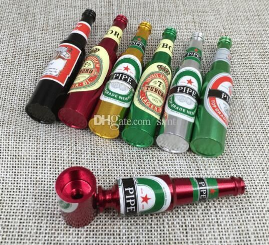50 pcs New Arrive 83mm Mini pipe Pipes Portable beer bottle Smoking Pipe Herb Tobacco Pipes