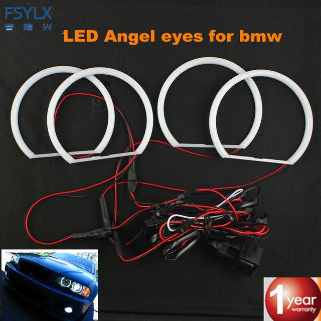 FSYLX SMD white LED angel eyes for BMW E36 E38 E39 E46 projector Ultra bright 2600LM 12V e46 halo ring kit daytime light 131mmx4