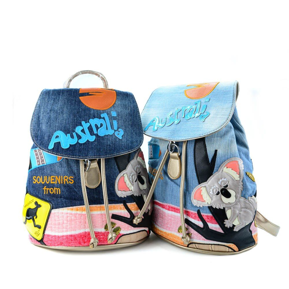 2017 New Arrival Women Fashion Design Cartoon Pattern Backpack Denim Young Special School Bag Colourful Bagpack