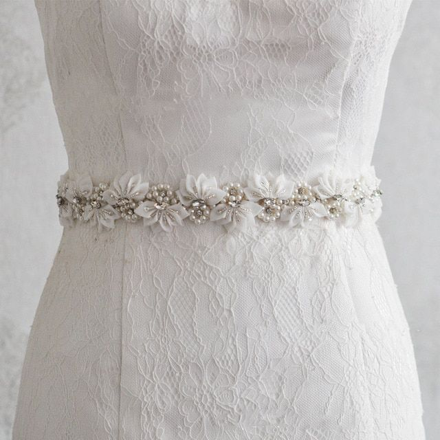 Floral Bridal Belts With Crystal 2017 Rhinestone Pearls Wedding Party Bride Bridesmaid Dress Belts Bridal Sashes Accessories