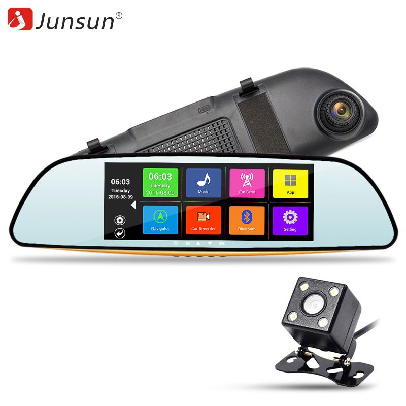 "Junsun 6.86"" Car DVR Video Mirror Camera Android GPS Navigation FHD 1080P Recorder Automobile Dash Cam Rearview Mirror Dual Lens"