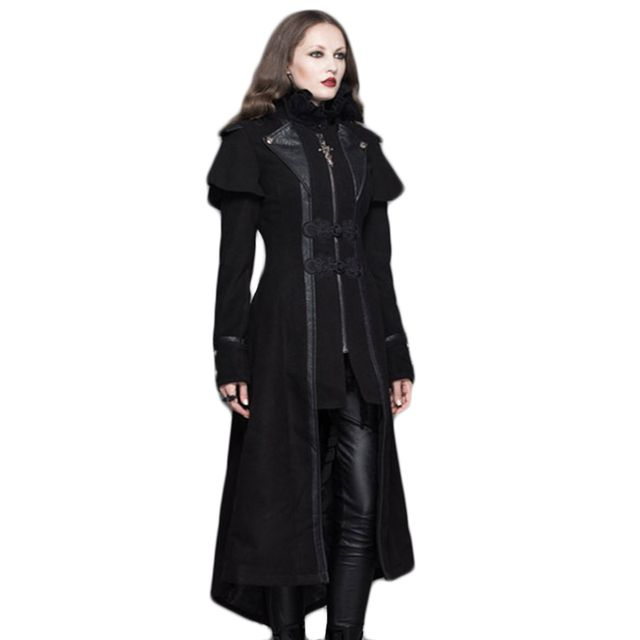 New 2017 Winter Jacket Thin Jacket Female Steampunk Womens Autumn Jakcets Gothic Fake Two Pieces Stitching Coat
