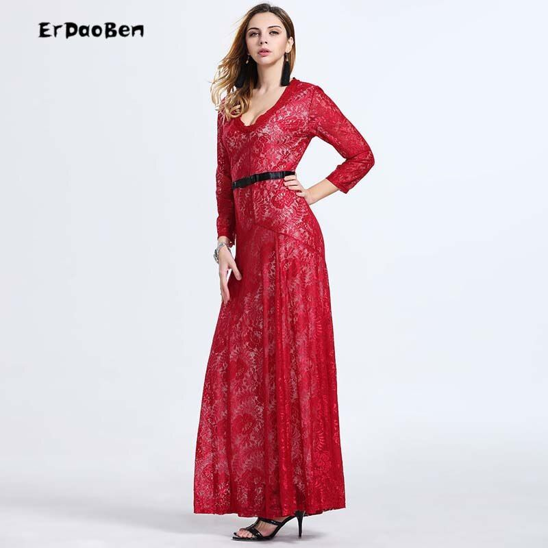 Hot 2017 Elegant Red Black White V sexy office dress Long Sleeve Lace Formal party Dresses Valentine  vestido renda DR258