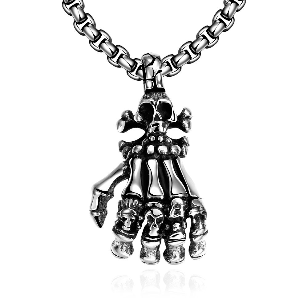 Fashion Vintage Punk Steampunk Necklace Metal Long Chain Charm Gothic Hand Bone Skull Pendant Gift Man Claw Statement Jewelry