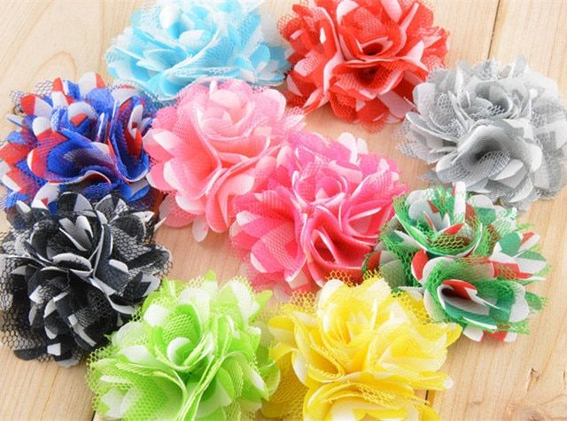 500pcs/lot 5CM Baby Girl Chiffon Satin Mesh Flower Chevron DIY Children Headwear Accessories