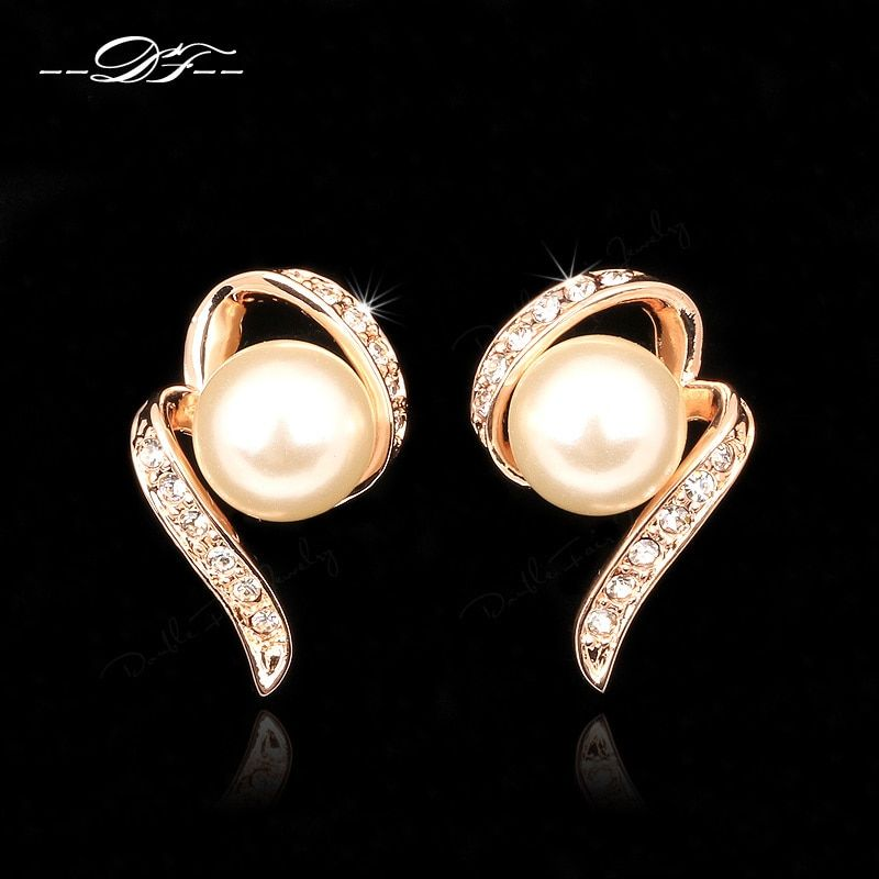 Simulated Pearl Beads Vintage Party Stud Earrings Rose Gold Color HotSale Fashion Cubic Zirconia Jewelry For Women DFE231