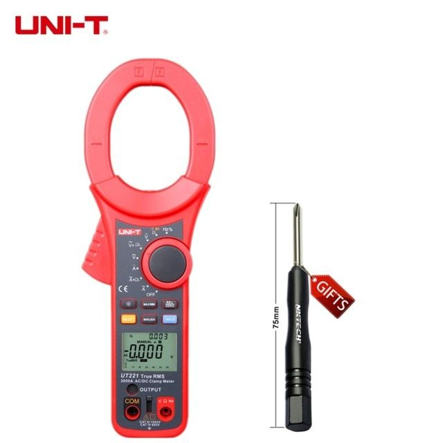 UNI-T Professional LCD Backlight 2000A True RMS Digital Clamp Meters W/ Frequency & Duty Cycle Test Multimeter UT221