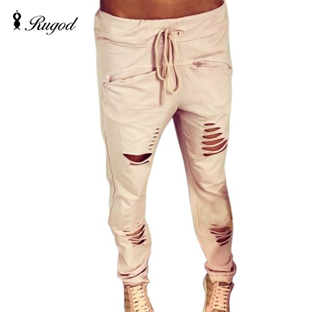 New 2017 Summer style Women Fashion Cotton Low Waist Slim Holes Ripped Washed Casual Ladies Long Pants high quality big