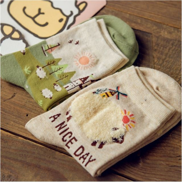 12Pairs/Lot New female socks 2015 fall new Japanese cartoon cute sheep lady in tube wholesale