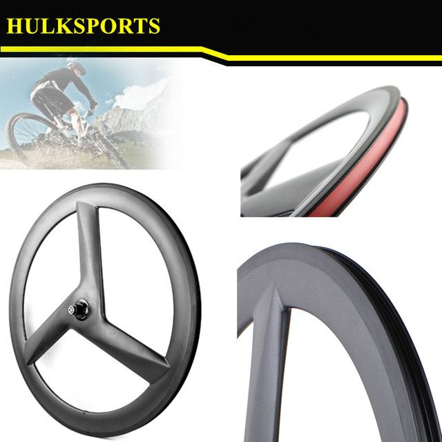 3K Glossy 60mm Tri Spoke wheel Clincher three spoke wheelsCarbon 3 Spoke Wheel for Road Track Bikes Fixed Gear