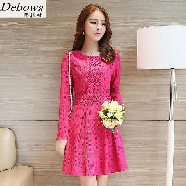 Debowa Fashion Black Dress Women 2017 New Autumn Womens Dresses Long Sleeve O-neck Slim Princess Dress School Dress Female