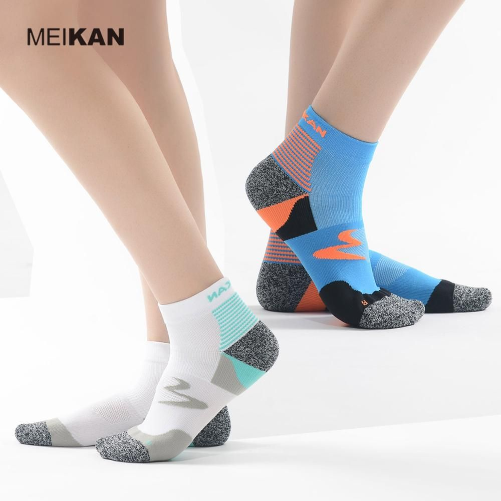 MEIKAN 2Pairs Men Running Socks Sport Socks Running Calcetines Ciclismo Ankle Nylon Cycling Sox Hiking Compression Socks Men