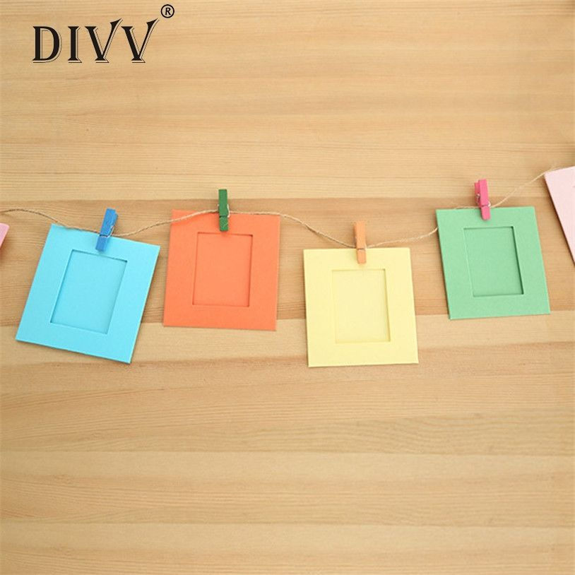 DIVV 10Pcs 3Inch Color Paper Photo Frame Wall Picture Album Hanging Rope Camp hanging picture frames