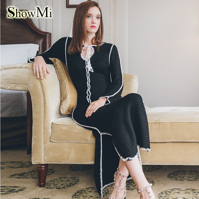 ShowMi 2016 Autumn Winter Women Knitted Dress Mid-calf Split Bandage Black White Wool Long Women Loose Sweater Dresses