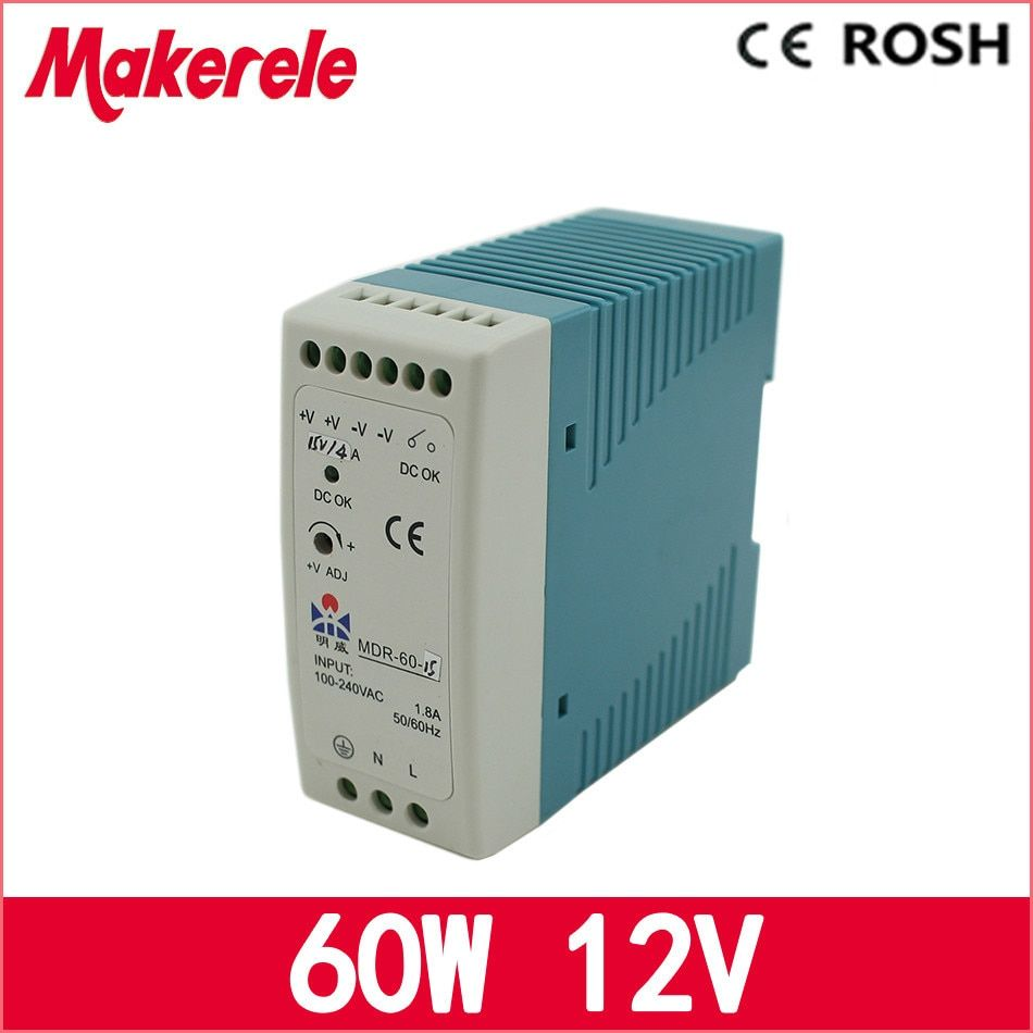 ac dc din rail power supply MDR-60-12 12V 5A 60W Switching Power Supply for LED Strip Light lamp