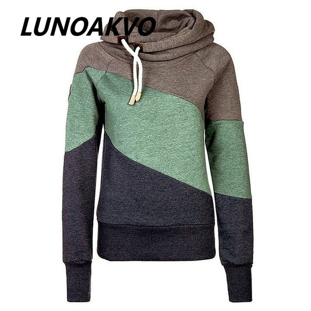2016 Winter Autumn Women Hoodies Tracksuits Sweatshirts Patchwork Casual Pullovers Plus Size