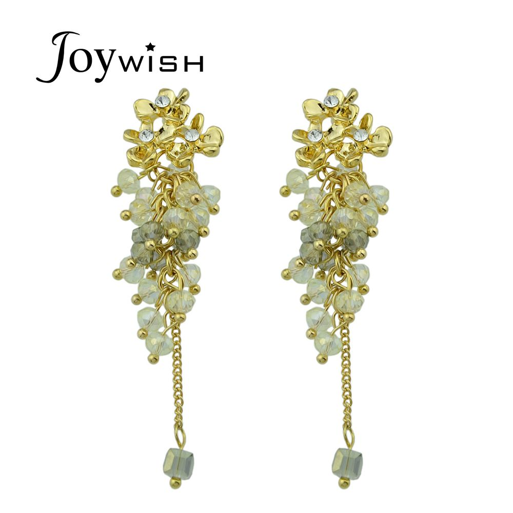Joywish Statement Earrings Jewelry Gold-Color Flower Shape with Pink White Black Beads Rhinestone Dangle Earrings for Women