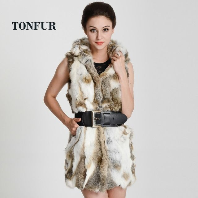 real rex rabbit fur vest with hooded women's slim rex rabbit fur coat winter fur jacket Free shipping  THP272