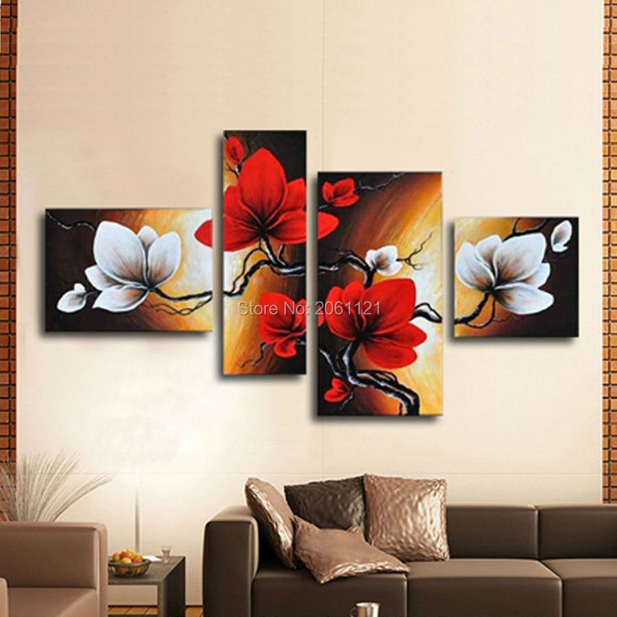 Hand painted blooming Flower painting red brown Abstract modular picture home Decor Oil Painting on canvas 4 panels wall art
