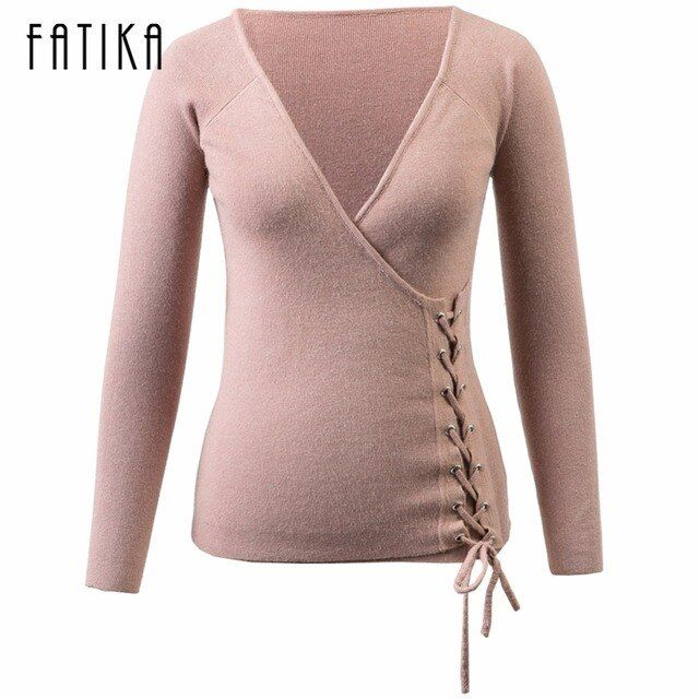 FATIKA 2017 New Fashion Women's Pullovers Lace Up V-neck Knitted Sweaters Solid Casual Slim Jumpers Tops for Lady