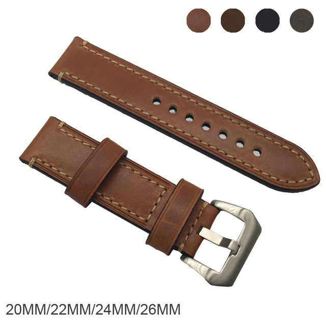 Genuine horse Leather Watchbands Men Women Italy Watch Band Strap for Panerai Belt Stainless Steel Buckle 20 22 24 26mm relogio