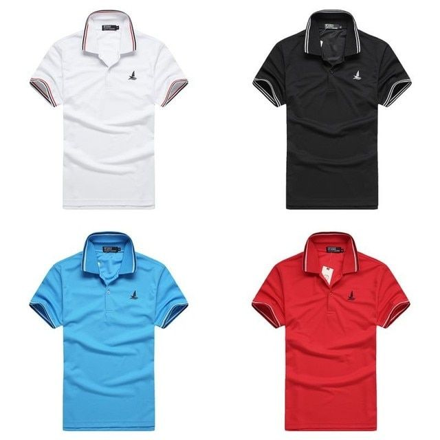 New Simple Style Sports Men Golf Tennis Shirt Collar T-Shirts Plain Slim Fit Exercise Sleeve Tee Tops