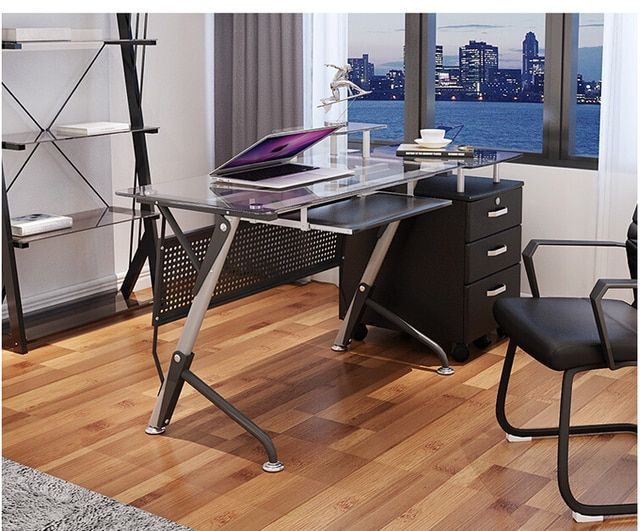 Computer desk. Contracted and contemporary toughened glass. Desktop home desk